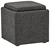 Rivet Ross Tweed Modern Lift-Top Storage Ottoman, 18″W, Caviar Review