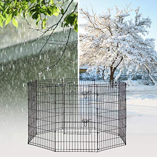 42-Black Tall Dog Playpen Crate Fence Pet Kennel Play Pen Exercise Cage -8 Panel by BestPet (Image #3)
