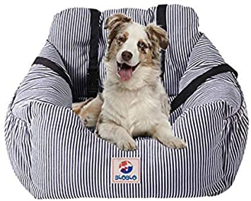 Bloblo Sitzerhöhung Für Hunde Für Kleine Bis Mittelgroße Hunde Mit Einem Gewicht Unter 16kg Mit Seitentasche Und Hundeleine Abnehmbarer Und Waschbarer Haustier Sitzbezug Hunde Auto Reisebett Blau Haustier