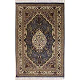 Rugstc 4'7 x 7'1 Pak Persian Area Rug with Silk & Wool Pile - Floral Design   100% Original Hand-Knotted in Grey,White,Beige Colors   a 4.5x7 Rectangular Double Knot Rug