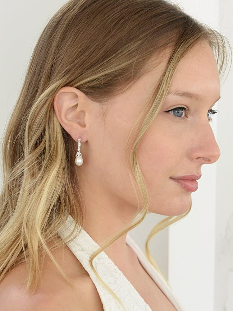 Mariell Genuine Freshwater Pearl Drop Earrings – Vintage Cubic Zirconia – Great for Brides or Bridesmaids