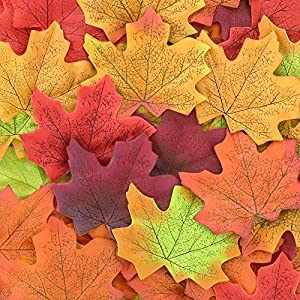 CEWOR 1000pcs Assorted Artificial Maple Leaves Mixed Fall Colored Wedding Home Thanks-Giving Events Outdoor Decoration 53