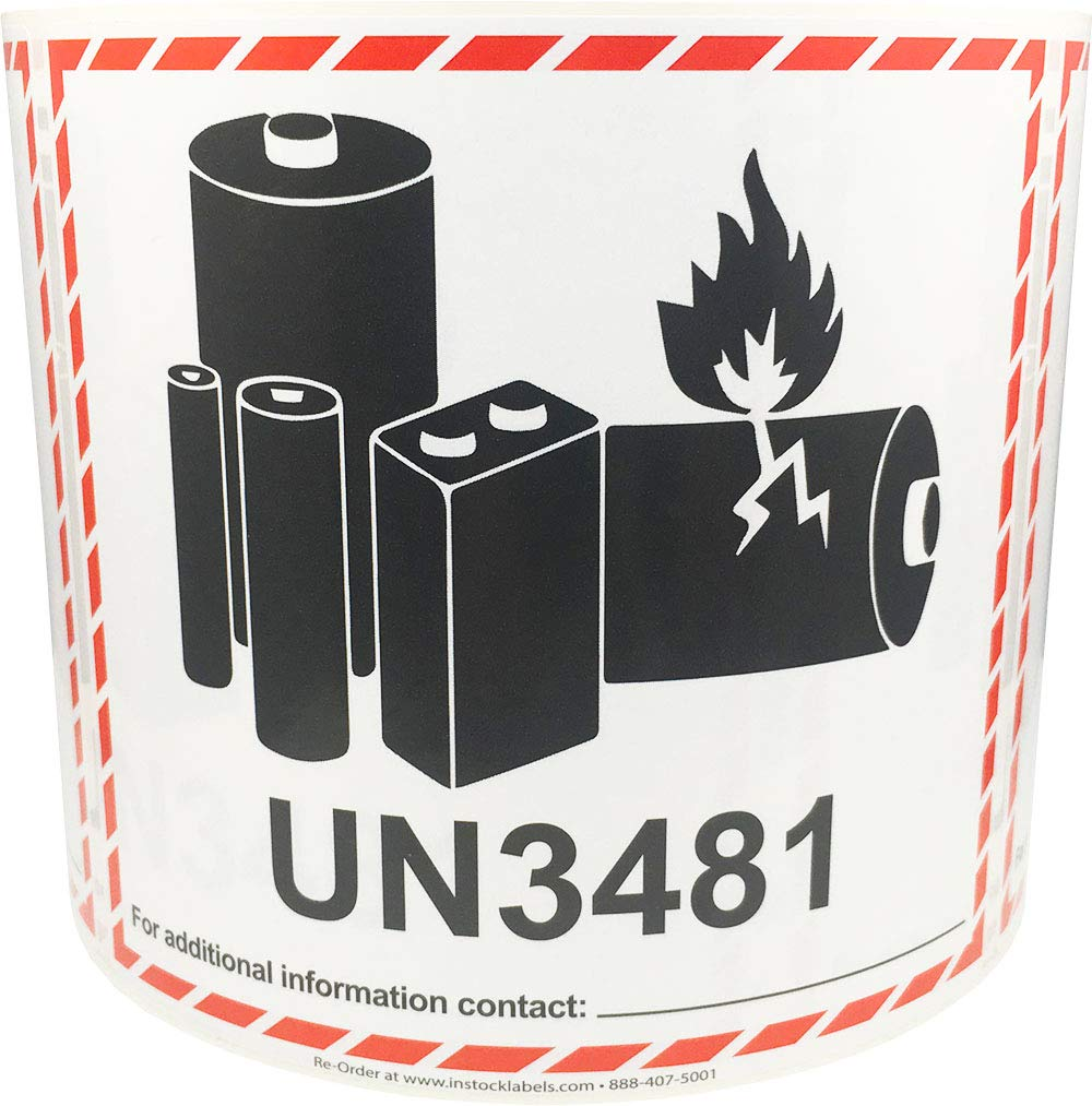 UN3481 Caution Lithium Battery Labels 4.5 x 5 Inch 500 Adhesive Stickers by InStockLabels.com