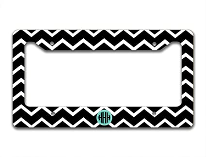 Amazon.com: Monogrammed Chevron license plate frame or cover – Black ...