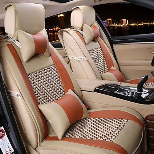 Easy to Clean PU Leather Car Seat Cushions 5 seats Full Set - Anti-Slip Luxury Leather Backing Universal Fit Car Seat Covers 10Pcs (Orange&Beige)