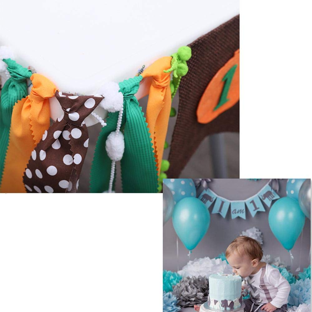 IMSHI 1st Birthday Decorations Baby First Burlap Highchair Banner Boy Dinosaur Theme Dining Chair Bunting Room Bar Flags Banner Decoration