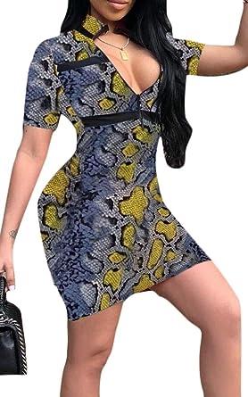 ouxiuli Women Bodycon Mini Sexy Club Summer Snakeskin-Print Deep V-Neck  Dress Blue 519d78912