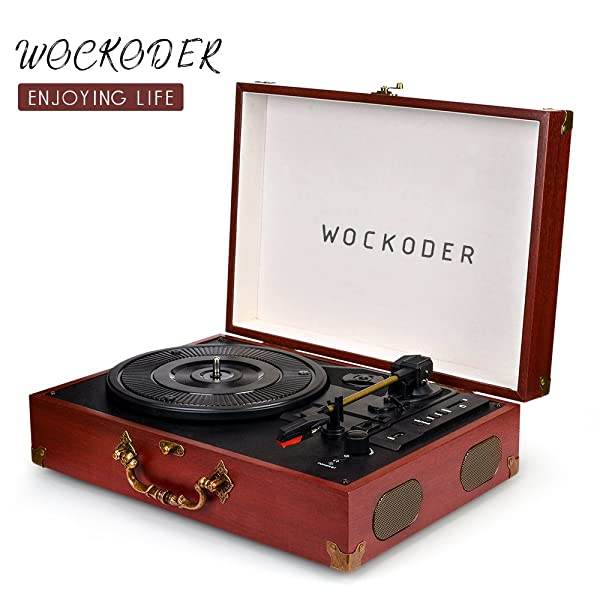 Wockoder Bluetooth 3 Speed Portable Turntable