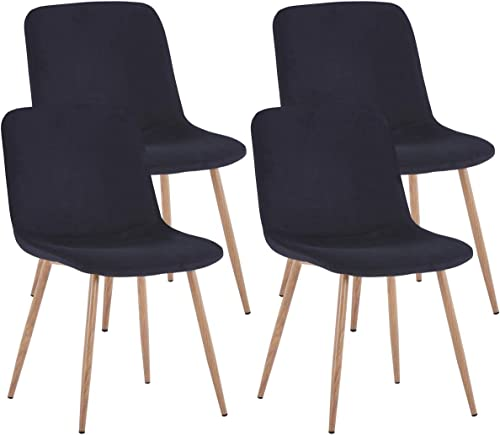 Velvet Elegant Dining Chairs Set of 4 Black Kitchen Dining Room Chairs