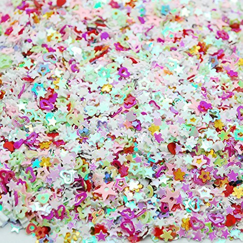Colorful Manicure Glitter Confetti 1.8oz/50g Mixed Shapes Size 3mm Great for Party Décor, DIY Crafts, Premium Nail Art Etc.. (Confetti Shapes)