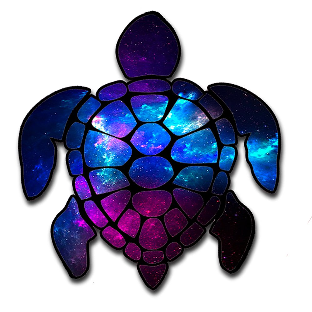 itsaskin1 Sea Turtle Galaxy Outer Space Moon Stars Space Gasses Turtle Sticker Decal for Car Made in the U.S.A.