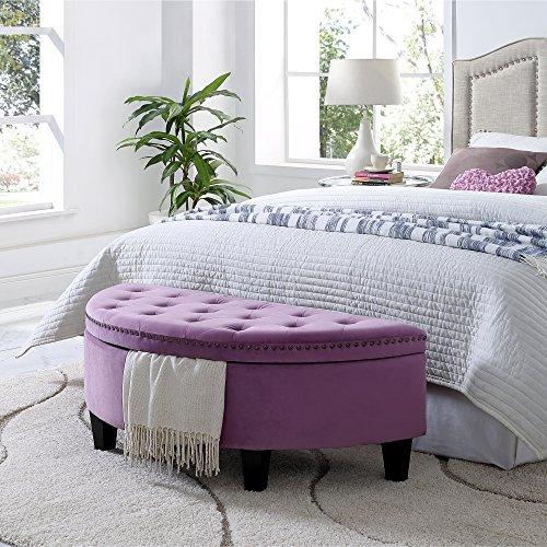 Inspired Home Jolie Mauve Velvet Storage Ottoman – Half Moon Upholstered Button Tufted Nailhead Bedroom
