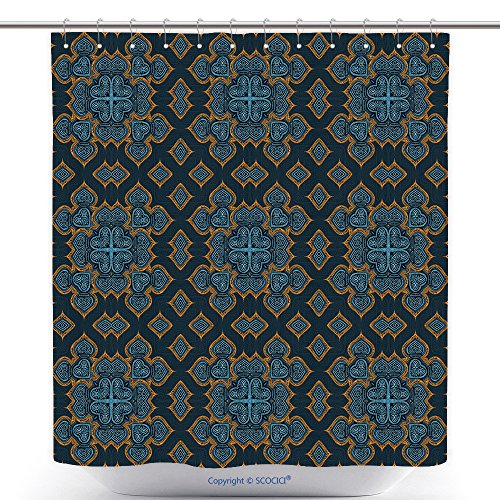 vanfan-Polyester Shower Curtains Watercolor Hand Painted Seamless Ornamental Kaleidoscope Moroccan Pattern Islamic Wallpaper Polyester Bathroom Shower Curtain Set With Hooks(36 x 72 inches) (Canada Lanterns Moroccan)