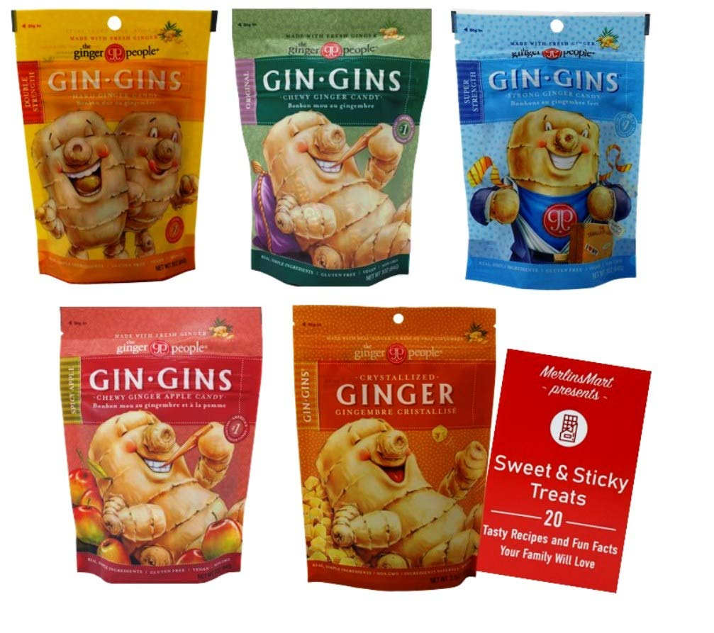Gin Gins Ginger Chews | Chewy Ginger Candy 5 Flavor Variety (1) each: Double Strength, Original, Super Strength, Spicy Apple, Crystallized Ginger (3 Ounces) Plus Recipe Booklet Bundle