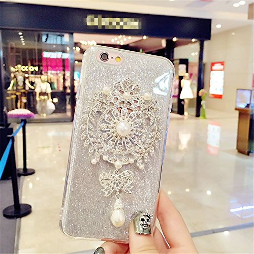 iPhone 6 Plus Case, GIZEE Luxury Glitter Rhinestone Pearl Flower Brooch Diamond Medal Soft Protective Case for iphone 6 6s Plus 5.5 Inch (Silver)