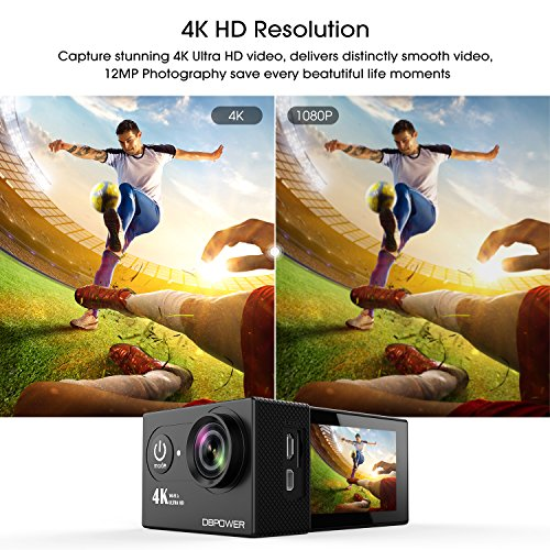 61L3sVWPJUL - DBPOWER 4K Action Camera 12MP Ultra HD Waterproof Sports Cam with Built-in WiFi 170 Degree Wide Angle Lens 2 Inch LCD Screen Plus 1050mAh Rechargeable Battery (Camera+Accessories)