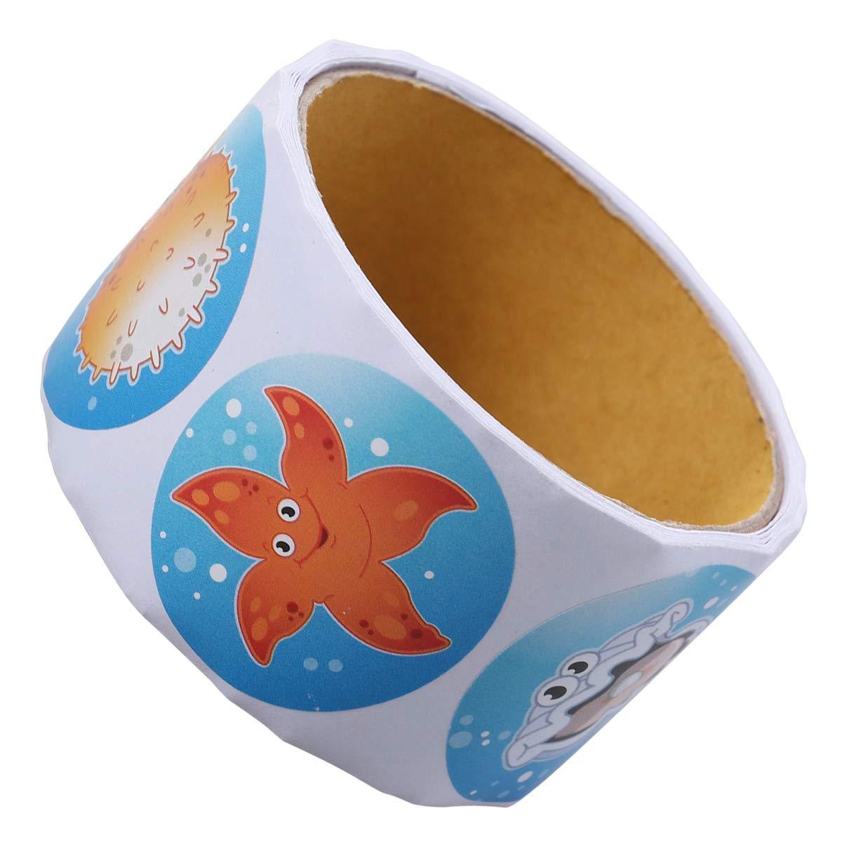 STOBOK 1 Rotolo Simpatico Adesivo Adesivo per Animali marini Etichetta Adesiva per Biglietti da Visita Decalcomanie per Feste di Compleanno