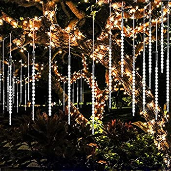 GuanD Meteor Shower Lights, Falling Rain Christmas Lights with 11.8inch 8 Tube 144 LEDs, Waterproof Icicle Snow String Lights for Party, Holiday, Xmas Tree, Garden Decoration(White)