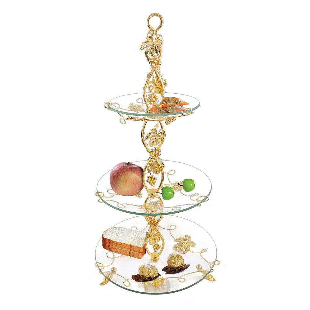 3 Tiered Serving Trays Stand Serving Platters Round Glass Plates Decorative Trays Tabletop Centerpieces Display Food Fruit Cake Dessert Buffet for Wedding Birthday Party Supplies Home Decor - Gold XINFANGXIU