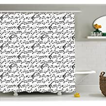 Ambesonne Music Decor Shower Curtain Set, Abstract Professional Music Pattern with Notes and Clef Sheet Play Writing, Bathroom Accessories, 75 inches Long