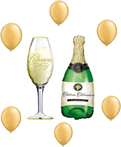 Champagne Bottle Party Celebration Large Foil Balloon Supershape Decorations