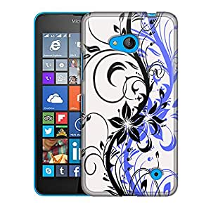 Nokia Lumia 640 Case, Slim Fit Snap On Cover by Trek Black Branch With Blue Shadow Case