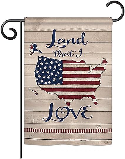 Amazon Com Breeze Decor G161083 Land I Love Americana Patriotic Impressions Decorative Vertical Garden Flag 13 X 18 5 Printed In Usa Multi Color Garden Outdoor