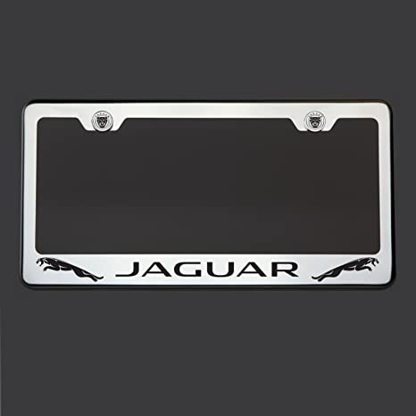 Black Lettering Laser Engraved Mirror Polish Stainless Steel Jaguar License  Plate Frame Holder Front Or Rear