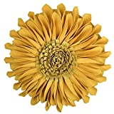 JWH 3D Sun Flower Accent Pillows Hand Crafted Round Cushion Decorative Pillowcases Insert Home Sofa Bed Living Room Decor Gifts 14 inch / 35 cm Wool Cotton Suede Yellow