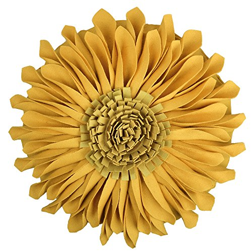 JWH 3D Sun Flowers Accent Pillows Handmade Cushions Round Wool Floral Decorative Cases with Insert Home Sofa Car Bed Room Office Chair Travel Outdoor Decor Solid Suede Yellow 18 Inch/45 CM (Home Decorative Item)