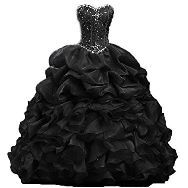 Diandiai Beaded Quinceanera Dress 2019 Ruffles Ball Gown Prom Dress ...