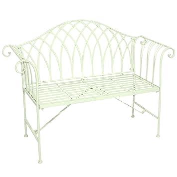 Charles Bentley Garden Ornate Wrought Iron Patio Garden Bench Outdoor Seat    Green