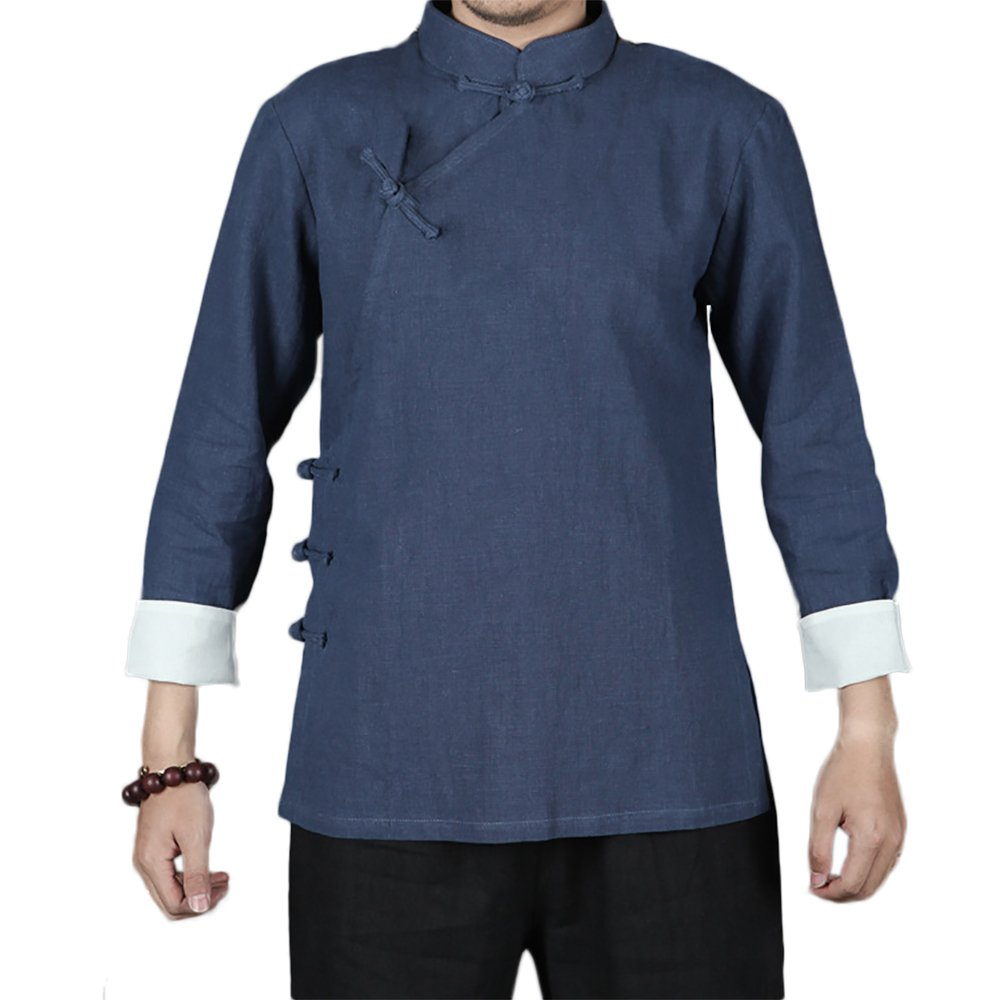 KIKIGOAL Chinese Traditional Uniform Top KungFu Shirt for Men (M, light blue)