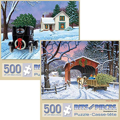 (Bits and Pieces - Set of Two (2) 500 Piece Jigsaw Puzzles for Adults - Each Puzzle Measures 18