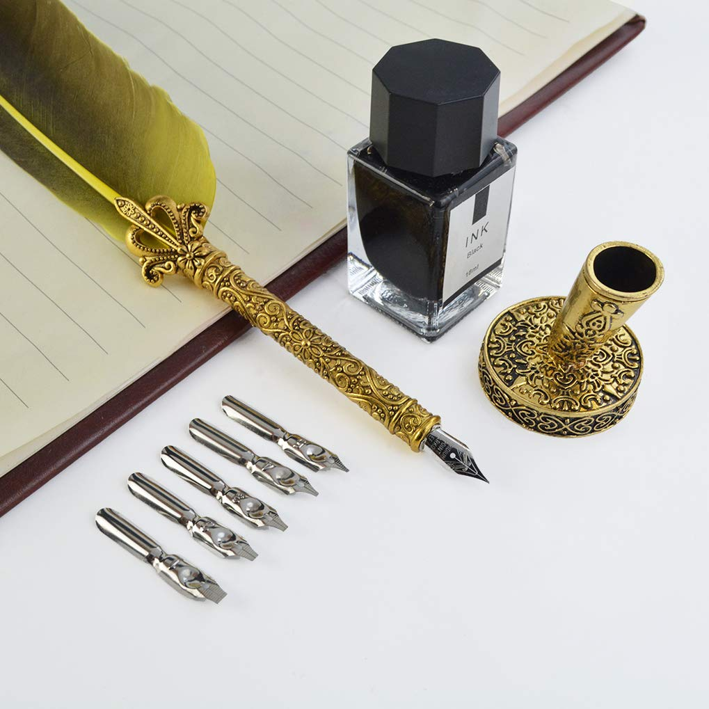 Quill Pen Handcrafted Quill Pen and Ink Set Antique Dip Feather Pen Set Pen