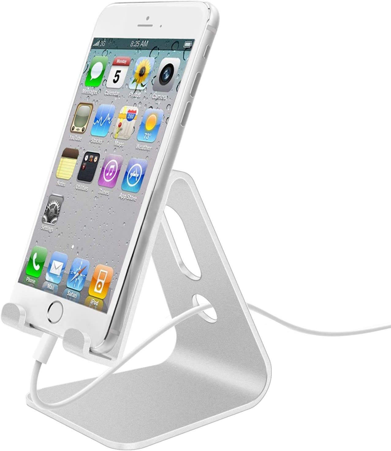 Cell Phone Stand, Phone Dock: Cradle, Holder, Stand for Desk, Aluminum Mobile Phone Cradle Dock Compatible with All iPhone, Android Smartphone, iPad Air/Mini & Kindle