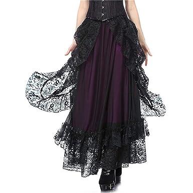 huateng Falda gótica de Encaje Vintage para Mujer Falda de Bruja ...
