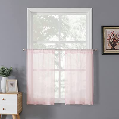 Buy Tollpiz Sheer Tier Curtain Linen Textured Half Kitchen Curtains Sheer Light Filtering Rod Pocket Voile Small Curtains For Bathroom 25 X 36 Inches Long Pink Set Of 2 Panels Online In Turkey B08gz3zxt2