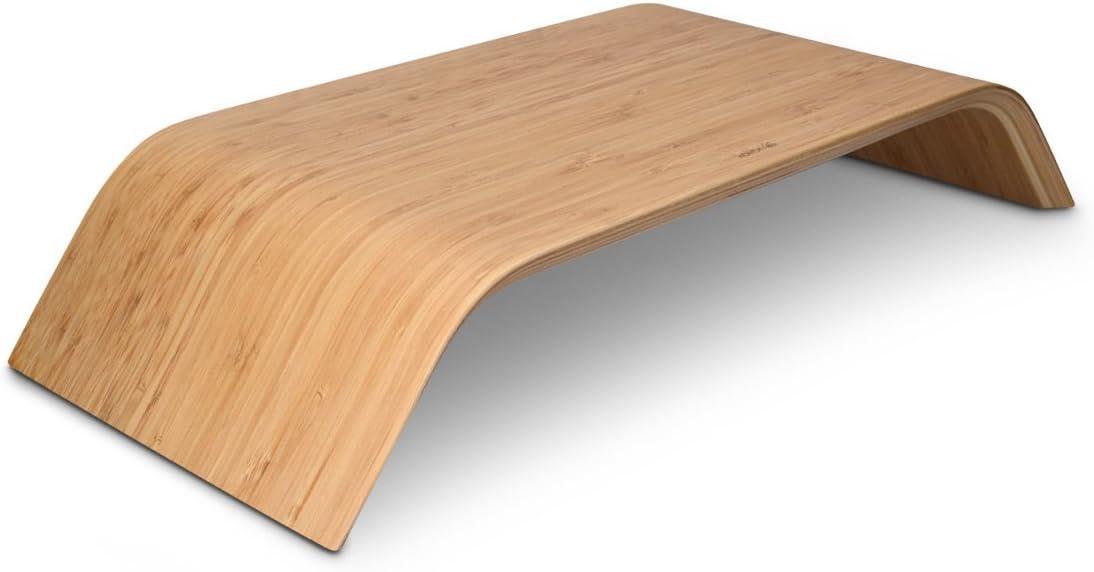 kalibri Computer Monitor Wood Stand - Universal Desk Monitor Holder - Desktop Dock Wooden Mount Display Riser for iMac PC TV Notebook Laptop - Bamboo