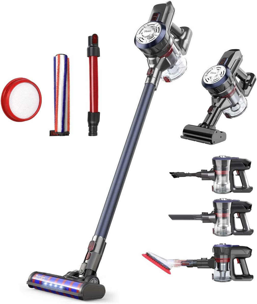 Dibea Upgrade Cordless Stick Vacuum Cleaner 250W Powerful Suction Bagless Lightweight Rechargeable 2 in 1 Handheld Car Vacuum for Carpet Hard Floor,