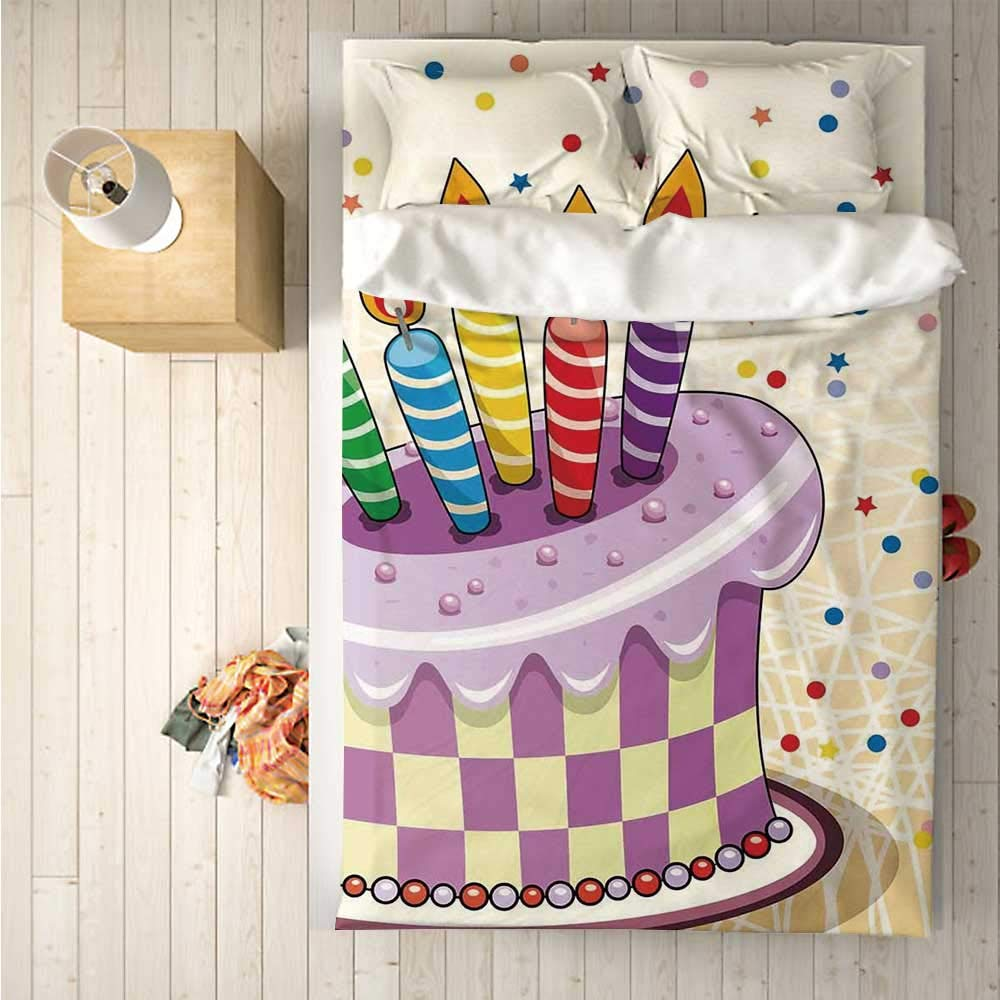 Birthday Decorations Comfortable 4 Piece Bedding Set,Creamy Cake Illustration with Candles Retro Polka Dots Stars Striped for Hotel,One Side Print : Double