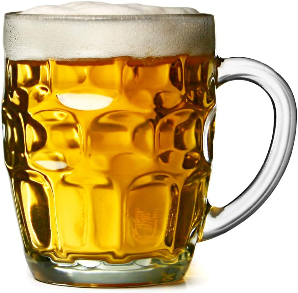 Bar@Drinkstuff - El hoyuelo británico gran taza - pack de 4 | hoyuelo tazas, jarras de cerveza, jarras de cerveza, hoyuelo tazas, jarra de vidrio | jarras de cerveza cristal tradicional | jarras de ce
