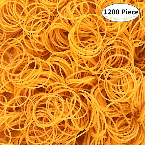 About 1200 Piece Yellow Rubber Bands, Carnatory Bank Paper Bills Money Elastic Stretchable Bands Elastic Holder Band Loop for School Office Bank Home and Various Purpose