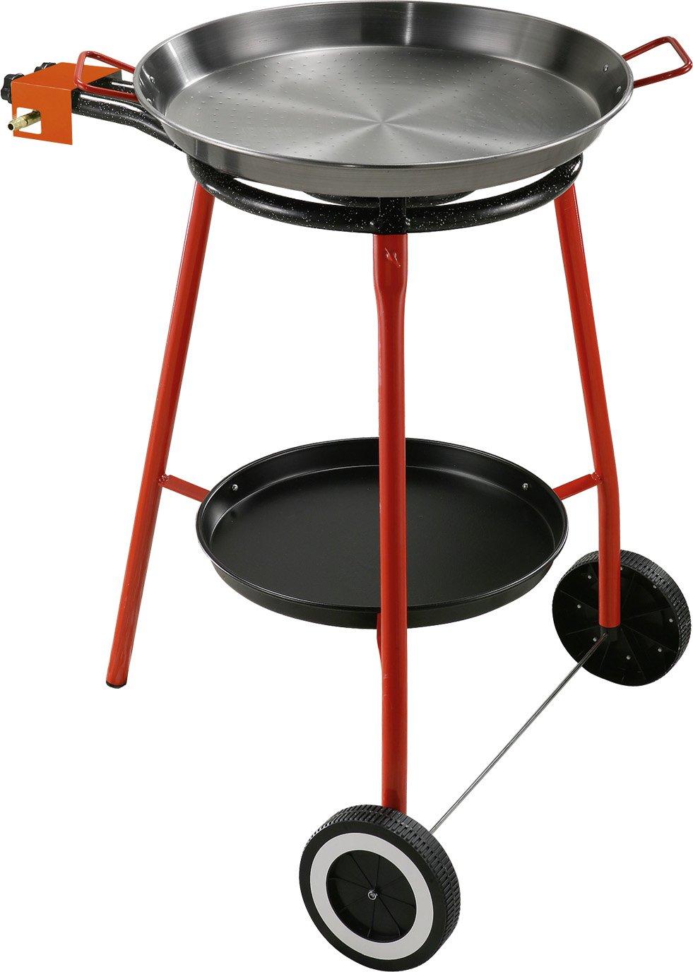 Kit für Paella, Komplett-Set für die Küche im Freien, besonders geeignet für die Zubereitung von Paella. Das Kit enthält: Gaskocher mit Gasversorgung (LPG) mit Zwei Brennern (unabhängig), Fuß aus Stahl lackiert mit drei Füßen, Pfanne aus Eisen Kit für
