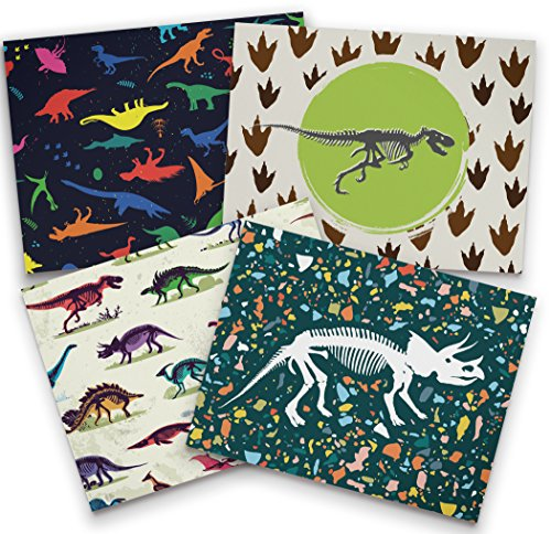 Twigs Stationery Dinosaur Note Card Set - 12 Recycled Cards and Envelopes - 4 Unique Note Card Designs - Made in - Note Dinosaur
