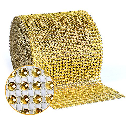 BEARHORN Diamond Rhinestone Mesh Ribbon, Wedding Ribbon, Cake Ribbon, Vase Decorations, Party Supplies 4.75