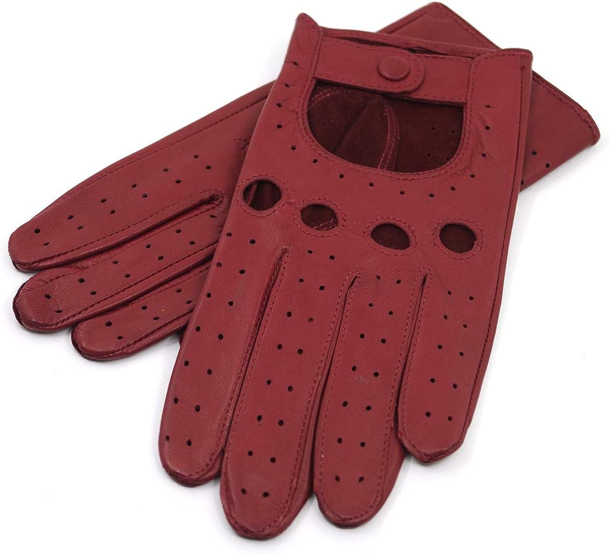 Harssidanzar Gants de conduite en cuir pour femmes sans doublure