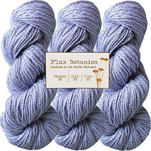 Living Dreams Flax Botanica DK Yarn. Elegant Merino Linen Silk for Knitting and Crochet. Cruelty Free & Responsibly Sourced. Pacific Northwest Handmade. Bulk Discount Pack, Lavender