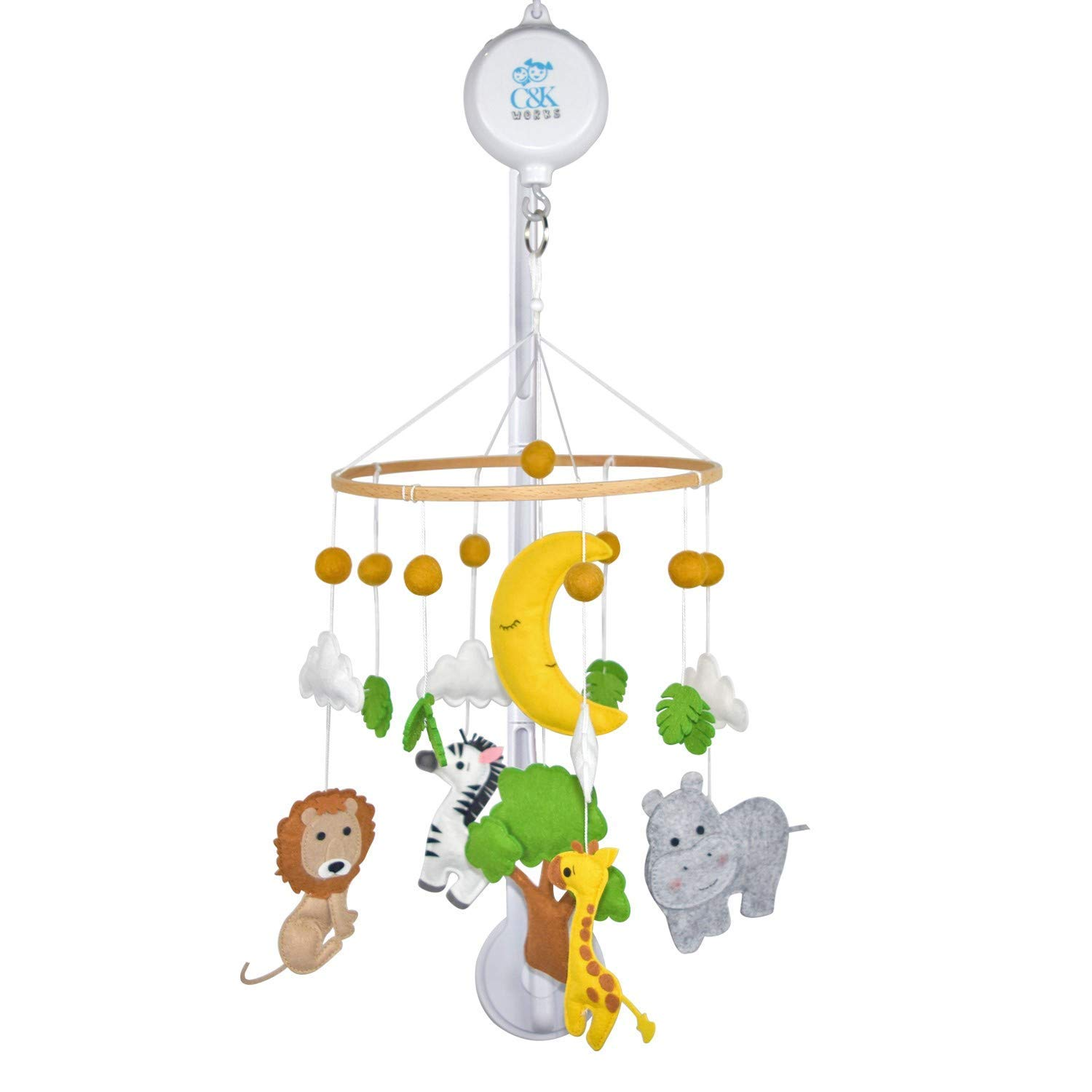 C&K WORKS Baby Crib Mobile, Music Box Player Includes 35 Songs and Crib Arm Holder, Hanging Carousel with Safari Zoo Animal, Giraffe, Zebra, Lion, Hippo Surrounded by Tree, Moon and Clouds.