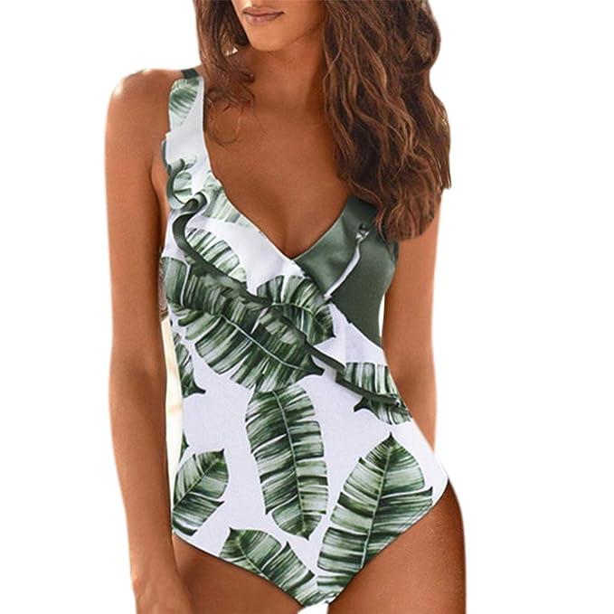 BBsmile Traje de Baño Mujer Una Pieza Sexy - Impresión Ruffle Trikini Mujer Push up 2019 Bañador de Baño - Bikini Mujer Brasileños